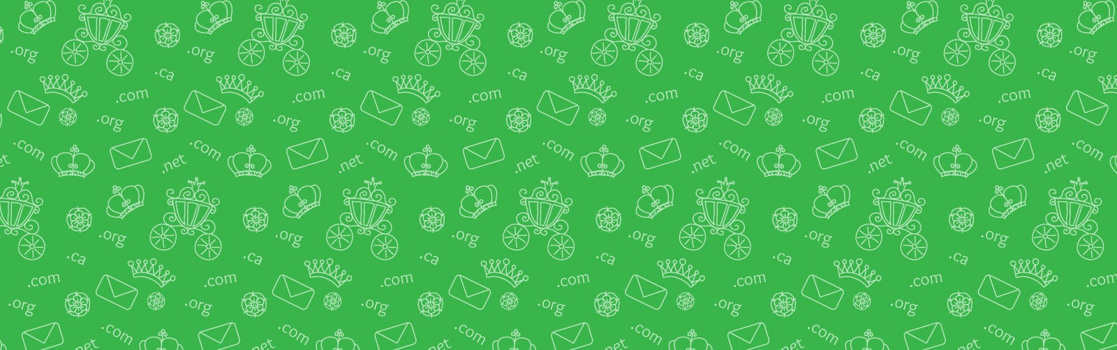 repeat illustration of email, domain and crown icons