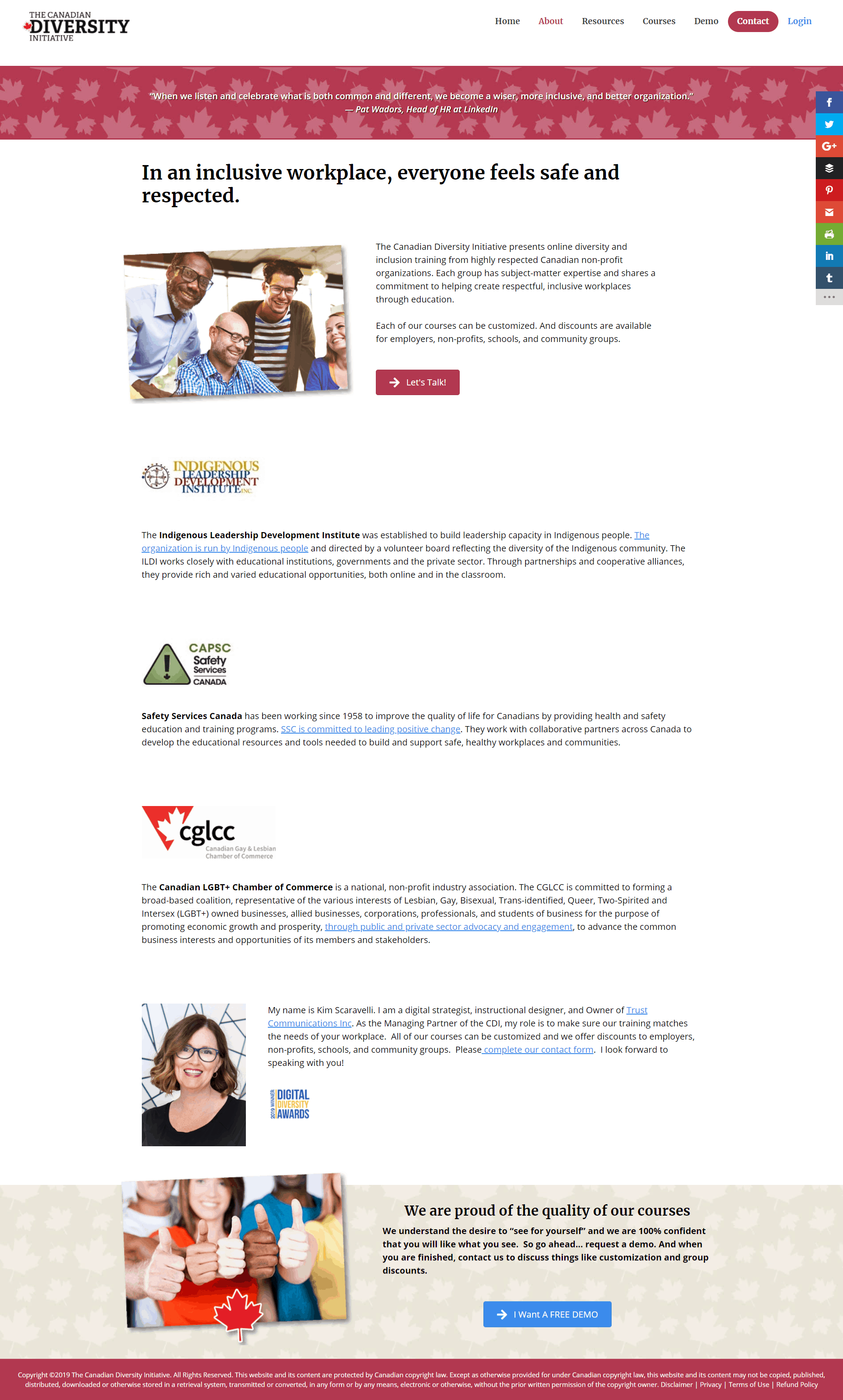 screenshot of new subpage of Canadian Diversity Initiative website