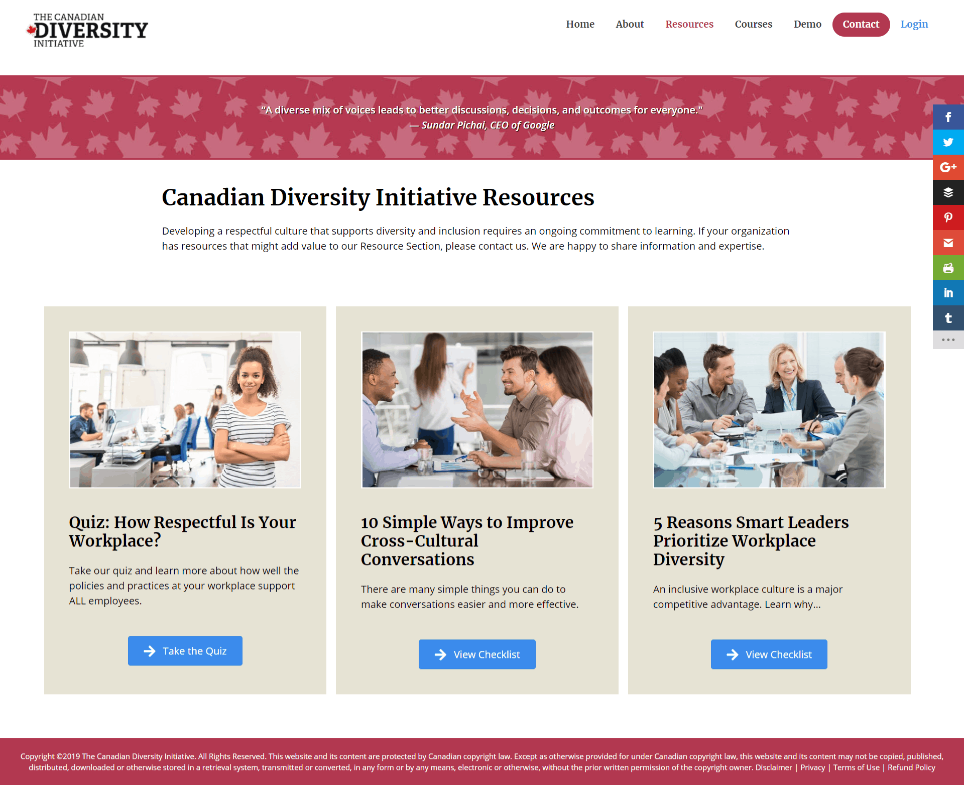 screenshot of new resources page for Canadian Diversity Initiative