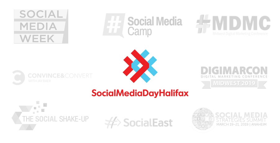 collection of conference logos compaire to the new Social Media Day Halifax logo