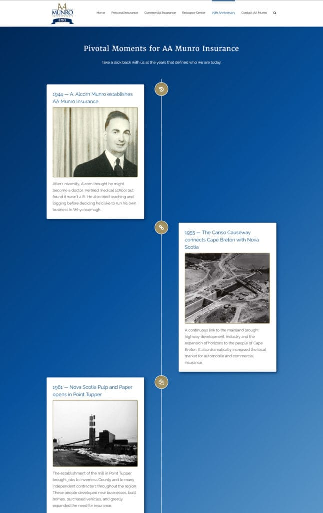 timeline to show last 75 years of history