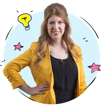 Alison Knott web and brand consultant headshot with illustration of lightbulb behind her