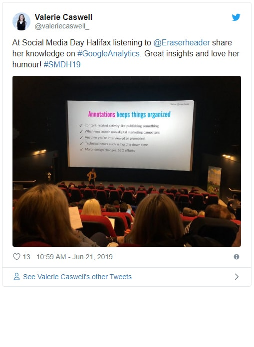 Tweet from Valerie Caswell about Alison K presentation