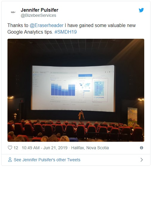 Tweet from Jennifer Pulsifer about Alison K presentation