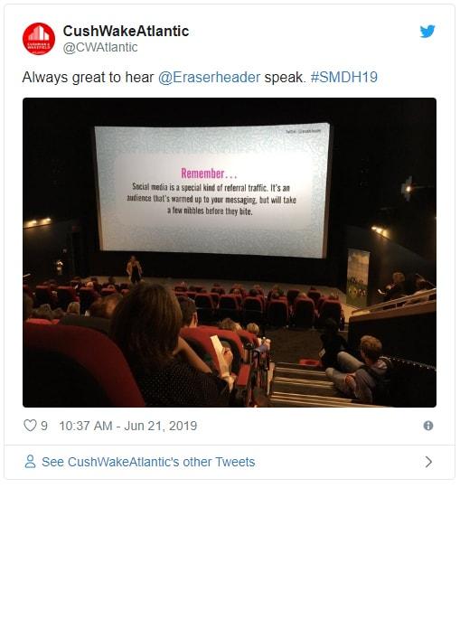 Tweet from CushWakeAtlantic about Alison K presentation