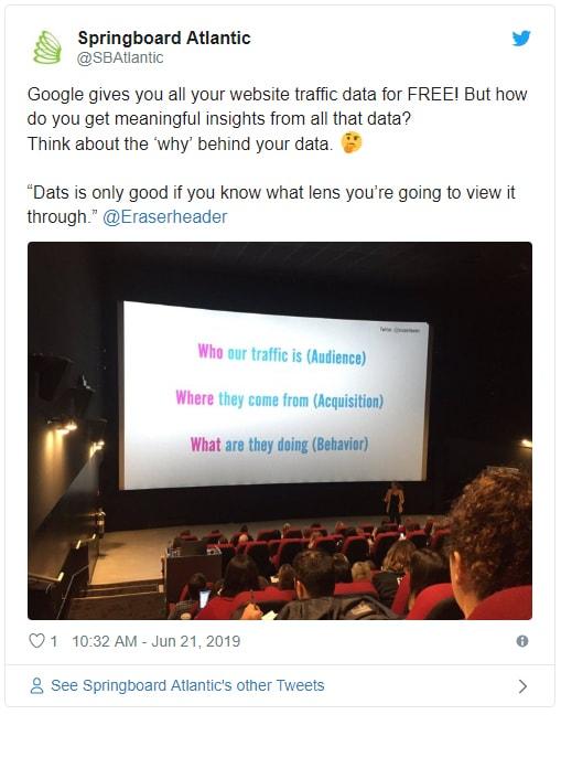 Tweet from Springboard Atlantic about Alison K Google Analytics talk