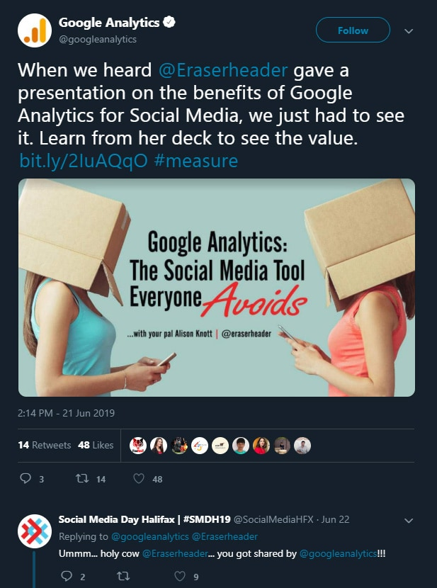 Tweet from Google Analytics about Alison K presentation