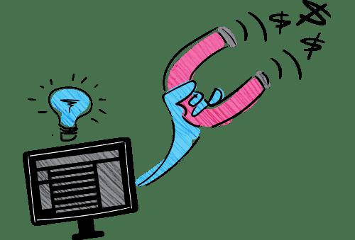 illustration of website using magnet to get more money