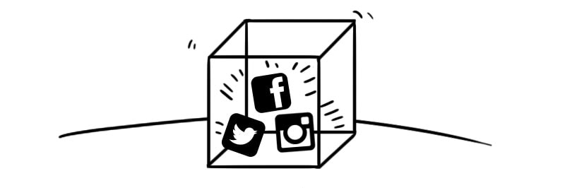 illustration of various social media icons trapped in a box, yelling