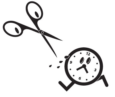 Illustration of a pair of scissors with eyes chasing a little clock that is running away in a sweat