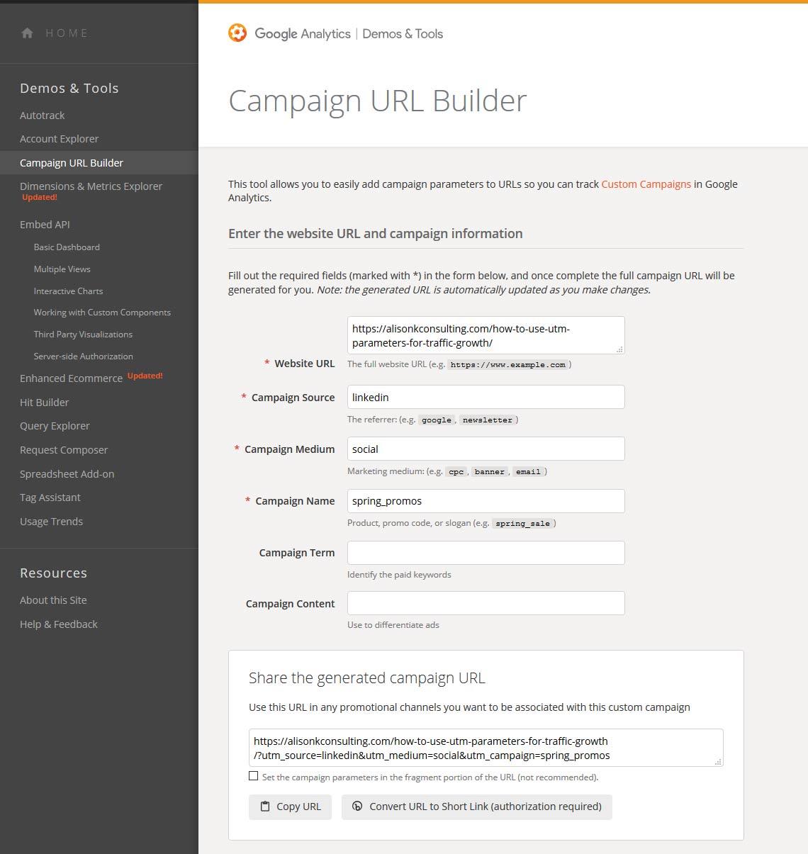 screenshot of Google's Campaign UTM link builder
