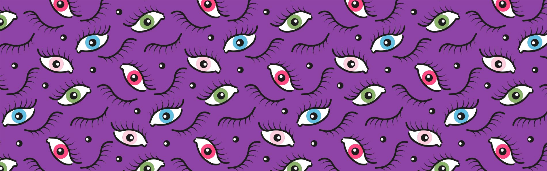 repeat pattern of illustrated eyes open and closed