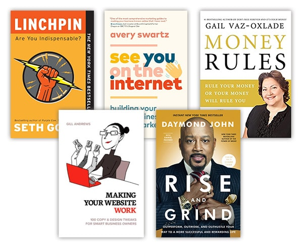 Covers of business books: 'Linchpin', 'See You On The Internet', 'Money Rules', 'Making Your Website Work' and 'Rise & Grind'