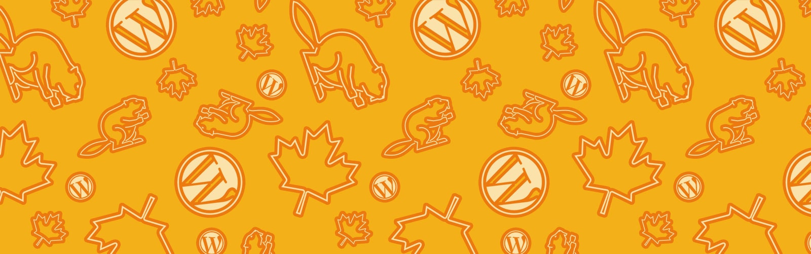 repeat pattern of beavers, maple leaves and WordPress logos in white against an orange background