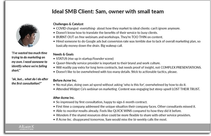 Example of a customer persona including a photo of a fictional buyer and associated information as used by Alison K Consulting during rebranding projects.