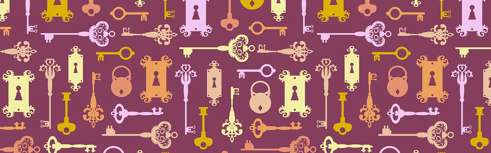 Pink header with a number of different types of keys representing an article about where to find privacy policies