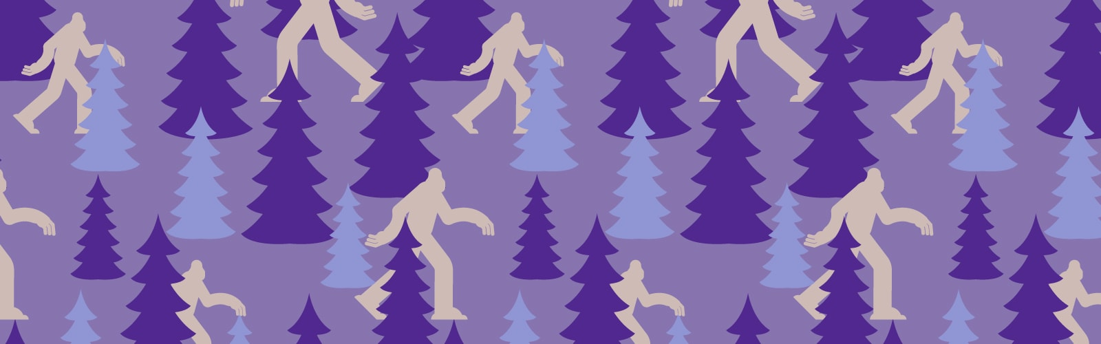 A purple banner with silhouettes of trees and the imprint of a great yeti walking among them for a blog post about SEO myths