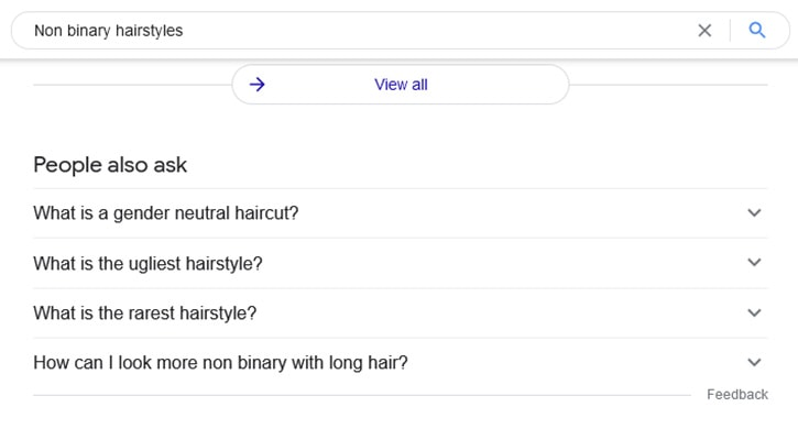 Screen shot of Google with the search bar open and 'Non Binary Hairstyles' typed in, showing 'people also ask' below.