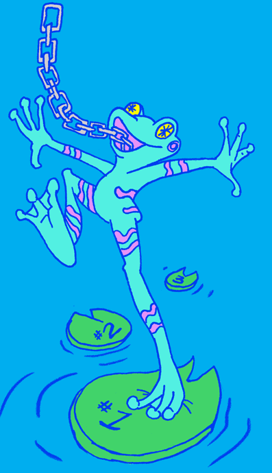 Illustration of a light blue frog landing on a lilly pad with the #1 on it. It's tongue is actually a chain link