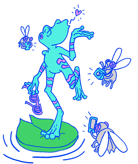 Illustration of a light blue frog striking a pose as flies take its photos
