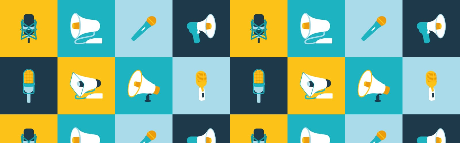 Header for the blog post 'Increase Brand Awareness Using SEO As A PR Tool' featuring microphones and megaphones.