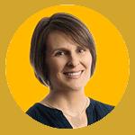 Headshot of Emily Amos smiling, with yellow background.