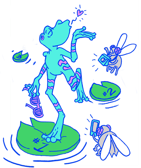 Illustration of a light blue frog leaping on lilly pads with the numbers 1, 2, 3. The frog is blowing kisses at flies with cameras taking photos.